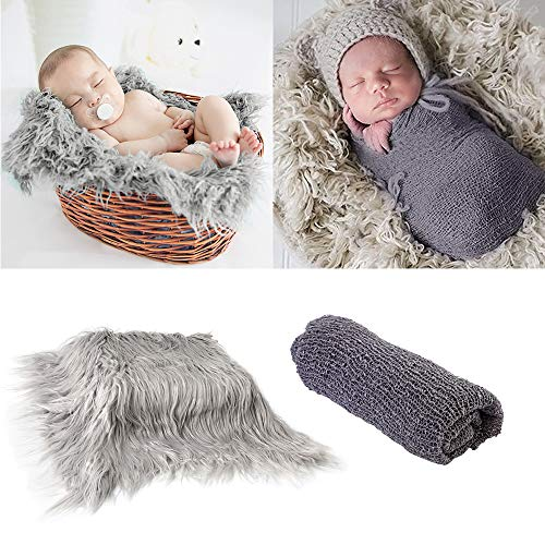 2Pcs Baby Newborn Photo Props Wraps amp Photography Mat DIY Newborn Baby Photo Blanket Swaddle Photography Props Wraps Infant Soft Faux Fur Photography Backdrops Mat Rug for Baby Boys Girls