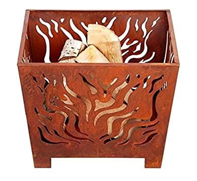 Garden Mile Fire Pits, Outdoor Garden Wood Burner, Firepit Garden Heating, Square or Bowl Shaped Fire Pits for Garden Heating or Wood Log Burner Cast Iron (Square Rusty Fire Basket) by Garden Mile