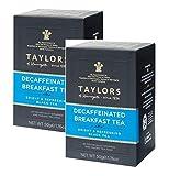 Taylors of Harrogate Descafeinado Desayuno Té Brillante y Refrescante Té Negro/Té Negro Descafeinado Brillante y Refrescante - 2 x 20 Bolsitas de Té Individualmente Envuelto y Etiquetado (100 Gramos)