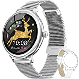 NAIXUES Smartwatch Donna IP68, Orologio Fitness Impermeabile Cardiofrequenzimetro da Polso, Smart Watch Bluetooth Contapassi Calorie Sonno Notifiche Messaggi Activity Tracker per Android iOS Argent