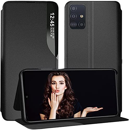 Funda para Samsung Galaxy A52 5G funda Smart Clear View Flip Ultra Slim de piel con función atril Smartphone 6.5 [pequeña ventana] (negro, A52 5G)