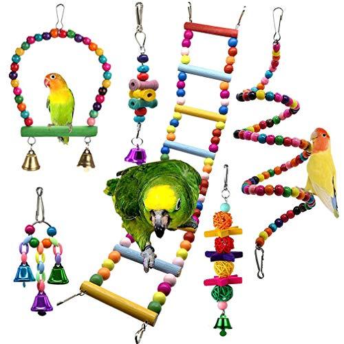 JasCherry 6 Piezas Pájaros Juguetes para Masticar Loros, Colgar Juguetes de Jaula de Loros, Escalera Hamaca de Madera, Columpios, Que cuelga la Perca Juguete para pequeños y medianos Loros de Aves