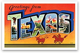 GREETINGS FROM TEXAS vintage reprint postcard set of 20 identical postcards. Large letter US state name post card pack (ca. 1930's-1940's). Made in USA.