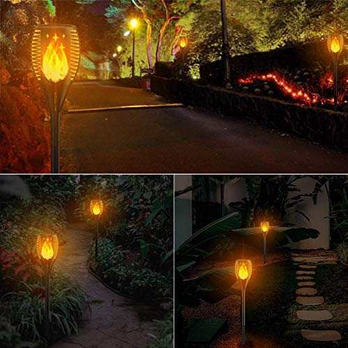 Luces de Antorcha Solar 2 Piezas, Zeonetak Luces de Jardín Solares para Exteriores 96 LED, Luces de Antorcha de Llama Solar para Jardín Patio Balcón Lugar Escénico, Impermeable IP 65.: Amazon.es: Iluminación