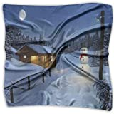 Mixed Designs Silk Square Scarves Bandana Scarf, Wooden Rustic Log Cottage Scenery In The Winter Season Warm Moonlight Spirit,Womens Neck Head Set