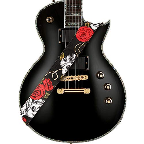 Amumu Skull Rose Guitar Strap Red Denim for Acoustic, Electric and Bass Guitars with Strap Blocks & Headstock Strap Tie - 2 Wide