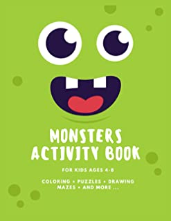 Monsters Activity Book For Kids Ages 4-8: Funny, Cute Monsters Activity Book For Kids - With Simple Drawings, Coloring, Pu...