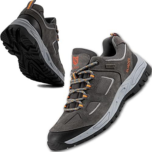 Sicherheitsschuhe Herren Arbeitsschuhe mit Stahlkappe Leichte Atmungsaktiv Schuhe Schutzschuhe rutschfeste stahlkappenschuhe Herren,Grau,EU44