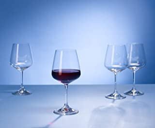 Villeroy & Boch Ovid Red Wine, Crystal Glass, Clear, 590 ml measured brimful, Set of 4
