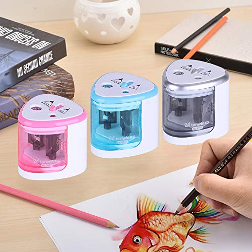 Decdeal Multi-Functional Automatic Electric Pencil Sharpener Battery Operated with 2 Holes(6-8mm / 9-12mm) for Home School Student Blue