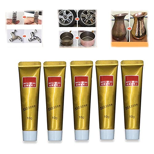 5PCS All Metal Polish Cream, Ultimate Metal Polish Cream, Rust Remover Gel, Antique Coin Polisher, Metal Polishing Compound Paste Kit, Rust Remover Gel for Metal and Kitchen Cleaner