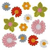 LIHAO 12 Stück Aufbügelbilder Blumen Patches DIY zum Nähen Aufbügeln Applikationen für Kleidungdeko Ornamente Schmuck aus Wolle