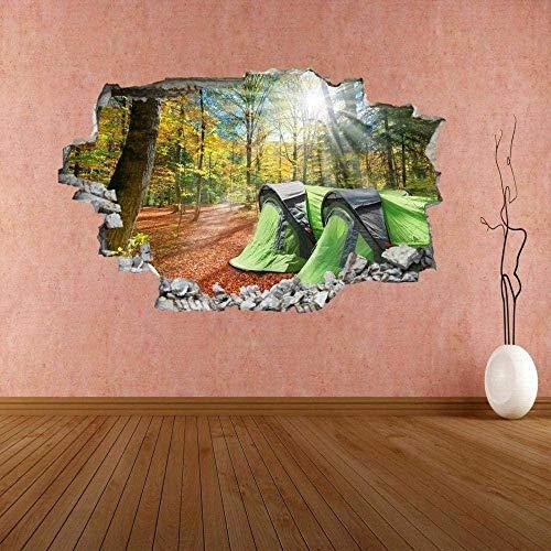 3D Pegatinas,Camping Tienda Otoño Bosque,Vinilo Removible Etiquetas De La Pared/Murales Decoración Del Hogar De La Sala De Estar Del Dormitorio 40X60 Cm / 15.7X23.6 Pulgadas