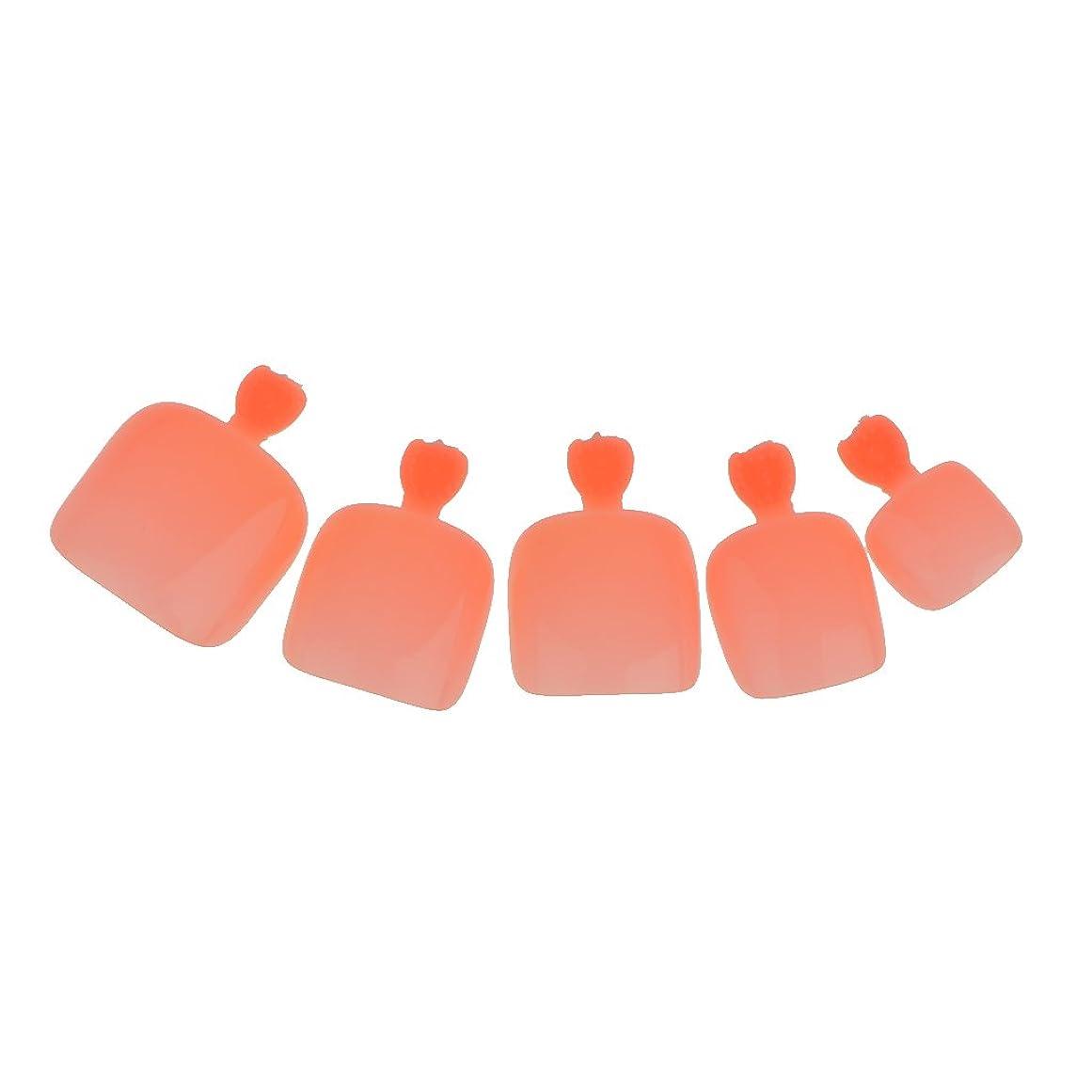険しい童謡リル【ノーブランド品】24個 フルカバー ペディキュア 人工 ネイルアート ヒント 全14色選べる - ライトオレンジ