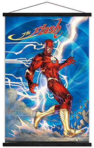 Trends International DC Comics - The Flash - Jim Lee Wall Poster with Wooden Magnetic Frame, 22.375' x 34', Premium Print and Black Hanger Bundle