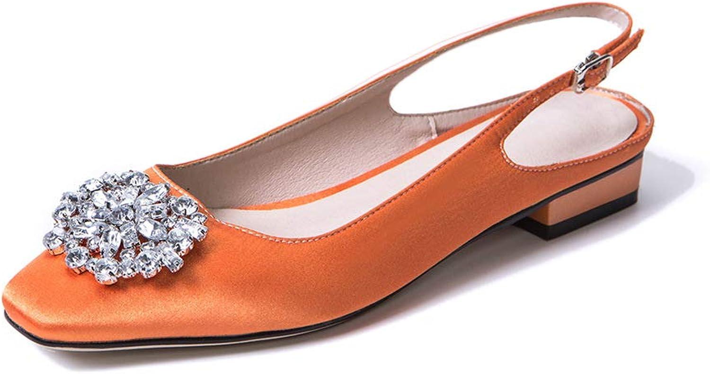 Wetkiss Women Sandals Flats Satin Summer Back Strap Handmade shoes Women Crystal Silk Square Toe Footwear