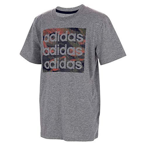 adidas Boys' Big Short Sleeve Cotton Jersey Logo T-Shirt Tee, Core Camo Heather Grey, XL(18/20)