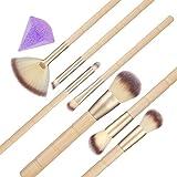 Yeddas - Juego de 7 brochas de maquillaje profesionales para corrector, colorete en polvo, abanico, nariz, con esponja blender de silicona en forma de diamante