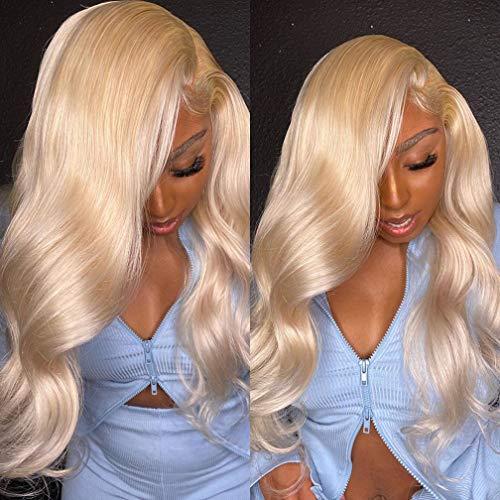 Brazilian 613 Blonde 3 Bundles 100% Unprocessed Human Hair Weave Bundles Remy Human Hair Extensions Platinum Blonde Body Wave Hair Bundles for Black Women(14 14 14inch)