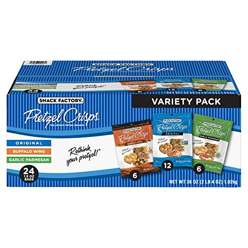 Snack Factory Pretzel Crisps Variety Pack, Individual 1.5 Ounce Snack Packs, 24 Count