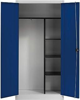 Mauser Armoire métallique à portes battantes - 3 tablettes courtes et penderie gris clair / bleu outremer - Armoire Armoir...
