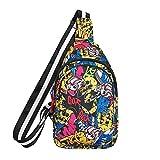 mossty Unisex Sling Bag Travel Chest Pack Multipurpose Casual Rope Crossbody Backpack Women Men Daypacks Earphone Hole