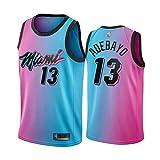 Camisetas De Baloncesto De Los Hombres, NBA Miami Heat # 13 Bam Adebayo - Comodidad Clásica Transpirable Quick-Secking Sin Mangas Vestidos Tops T-Shirt Sportswear,Rosado,L(175~180CM)