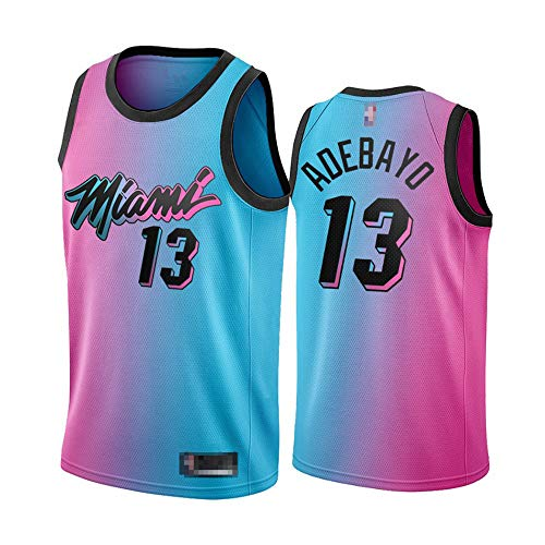 Wo nice Männer Basketball-Trikots, Miami Heat # 13 Bam Adebayo NBA Basketball-Trikots Mesh Sportweste Casual Tops Sleeveless T-Shirts,Color,L (175~180CM)