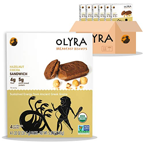 OLYRA Organic Sandwich Biscuits Hazelnut Cocoa-Vegan-Low Sugar High Fiber Protein Cookies (6 Boxes)