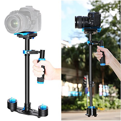 Neewer Aluminium Alloy 24 inches/60 Centimeters Handheld Stabilizer with 1/4 3/8 inch Screw Quick Shoe Plate for Canon Nikon Sony Other DSLR Camera Video DV up to 6.6 pounds/3 kilograms(Black+Blue)