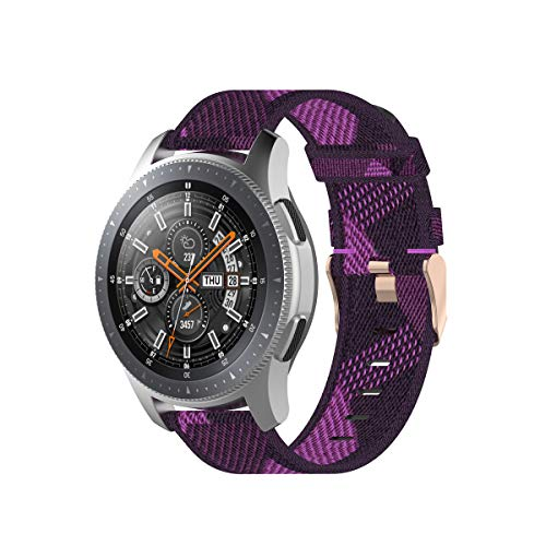 PINHEN 18mm 20mm 22mm Stripe Weave Nylon Wrist Strap Watch Band Replacement for Fossil Q, Asus, Samsung Gear S3 Classic/Frontier Smart Watch for Men Women (Purple, 18mm)