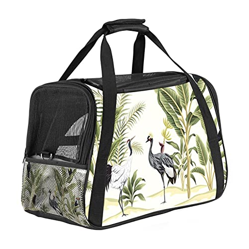 Tropical Vintage Bird Pet Carrier Bag, Portable Tote Bag Top Opening, Removable Mat And Breathable Mesh, Transport Handbag For Dogs And Cats