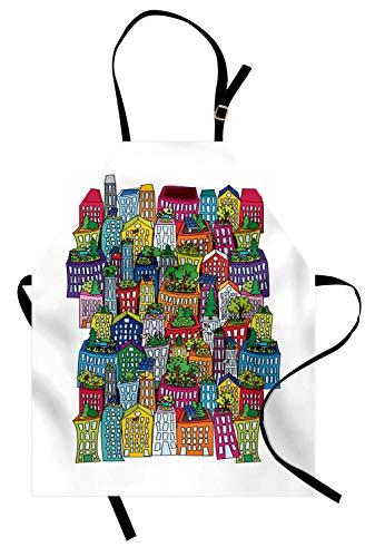 Stadt-Schürze, bunte hohe Gebäude-lustiges Design-ökologisches Anordnungs-Wohnungen-Stadt-Muster, Unisexküchen-Latzschürze mit justierbarem Hals für das Kochen backende Gartenarbeit, Mehrfarben