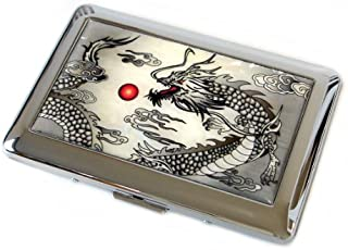 Mother of Pearl Black Dragon Design Mens Engraved Metal Stainless Steel Cigarette Holder Case Storage Box