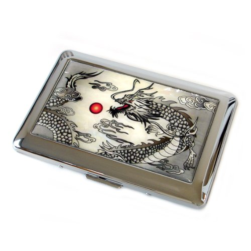 Mother of Pearl Black Dragon Design Mens Engraved Metal Stainless Steel Cigarette Holder Case Storage Box
