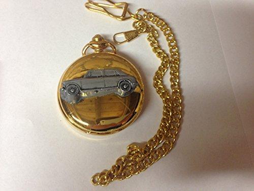 Austin Princess Vanden 1300 ref12 Auto Plas stemma in peltro effetto lucido, colore: oro su una custodia regalo orologio da taschino al quarzo, made in sheffield