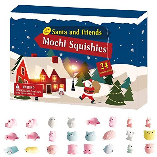 ruixin Adventskalender 2020 Weihnachts-Countdown-Kalender 24St Verschiedene süße Mochi-Tiere Stressabbau-Spielzeug Einzigartige Adventskalender überraschen jeden Tag für Kinder und Erwachsene