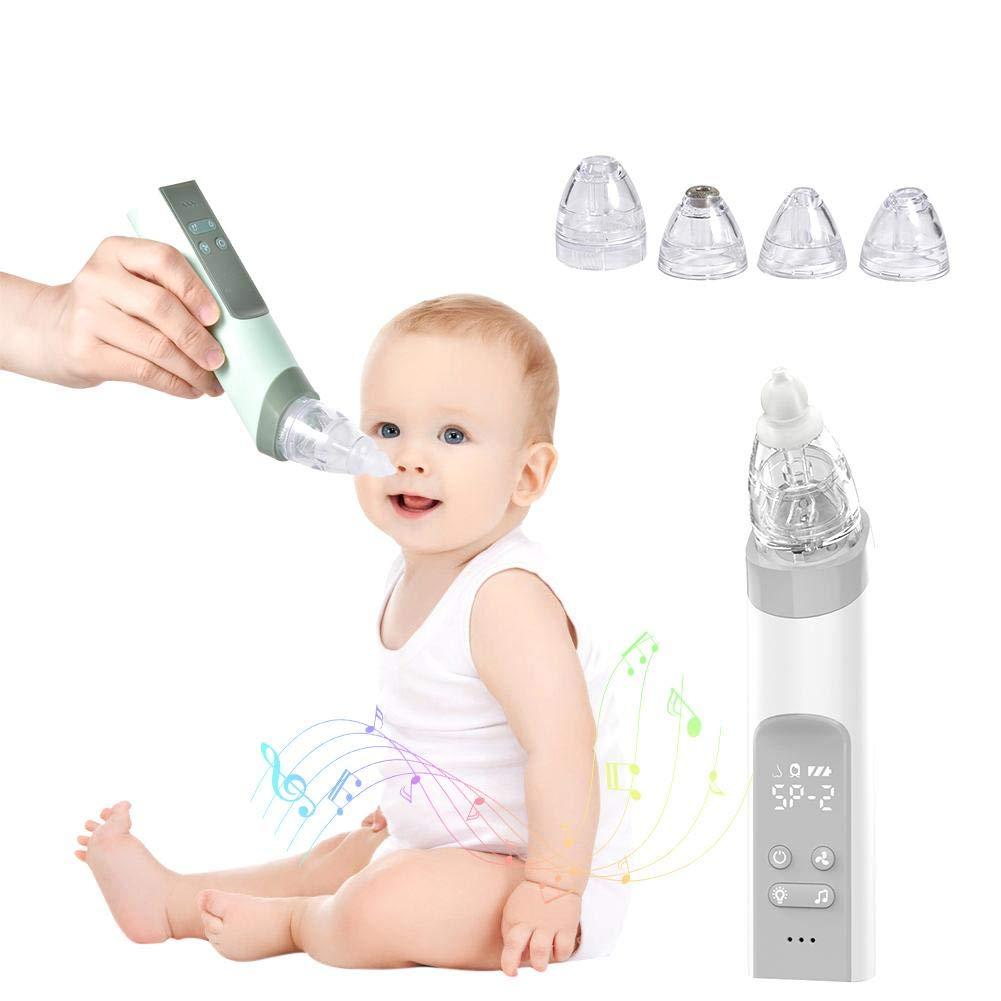 aspirador nasal bebes electrico, limpiador de nariz para bebés eléctrico 2 en 1 y removedor de cera del oído con 4 boquillas de lechón reutilizables para recién nacidos, niños pequeños y bebés: