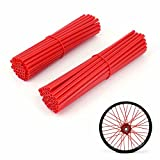 JFG RACING 72 Pcs Spoke Covers Guards Red - 19'-21' Rims For Honda CFR250R CFR450R CFR450X CFR250X XR250 CR125 CR250 CRF230 Dirt Bike Motorcycle