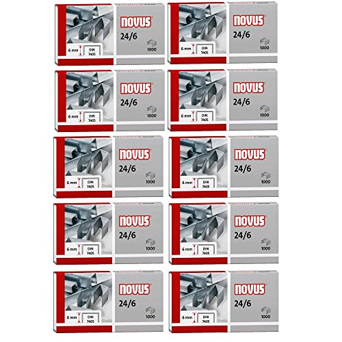 novus Heftklammern 24/6 DIN, verzinkt, Inhalt: 1000 Stück VE=10