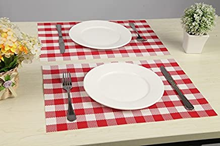 Vinyl Placemats Outdoor Placemats Waterproof Red Gingham Red Checkered Reversible Set of 4