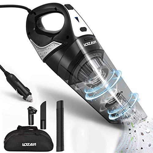 Aspirador de Coche, LOZAYI 6000Pa Aspiradora de Coche Portátil con Cable de 5M, Aspiradora Mano de Sólidas y Líquidas con Filtro de Acero Inoxidable, Succión Potente, Bajo nivel de ruido,3 Cepillos