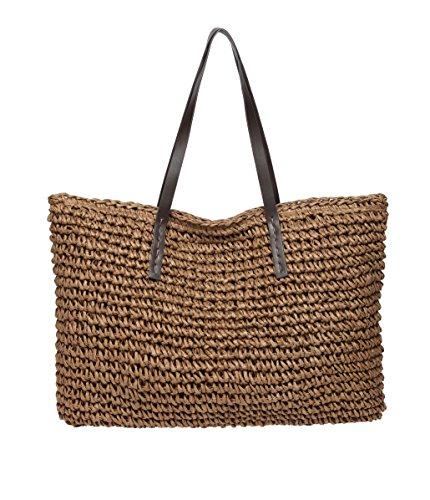 Defeng Strohtasche Damen Schultertasche Sommer Urlaub Strand Handtasche Strandtasche Damenhandtasche Tote Shopper (Kaffeebraun-B013)