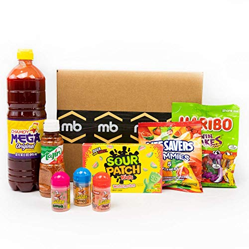 Munchie Box - Mexican Candy Box, Dulces Enchilados Kit, Includes Sour Patch, Life Saver and Haribo Gummies, Tajin, Chamoy, 3 Flavors of Lucas, Great Gift for Friends and Family, International Snacks
