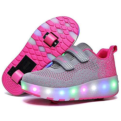 WANGT Zapatos de Roller,Led Luces USB Cargable Automática de Skate Zapatillas Ruedas Dobles Running Zapatillas para Gimnasia Niños Niña,Rosado,30
