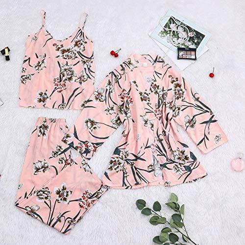 SDCVRE Conjunto de Pijama Pijamas para Mujer, 3 Piezas, Ropa de Dormir de satén, Pijama de Seda, Ropa para el hogar, Bordado, Pijama para salón, Pijama, Color 16, XL