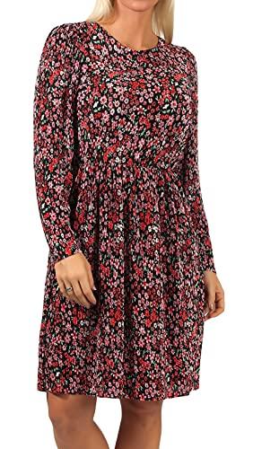 ONLY Damen Plissee Kleid ONLLena Puff Dress mit Blumen-Muster 15224899 Black/Shore Flowers red M