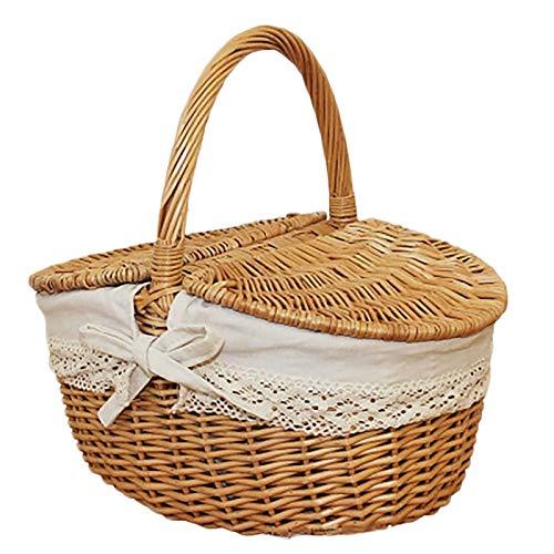 SWECOMZE Weidenkorb mit Tragebügel und Deckel, Handgemacht Einkaufskorb Aufbewahrungskorb Geschenkkorb Picknickkorb Präsentkorb (Groß)