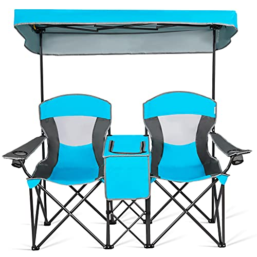 Goplus Double Camping Seat w/Shade Canopy, Mini Table Beverage Holder Carrying Bag for Beach Patio Pool Park Outdoor Portable Folding Beach Chairs (Blue)