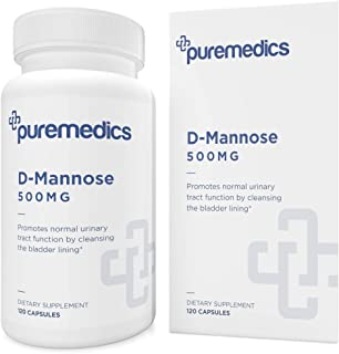 PUREMEDICS D-Mannose 500mg Capsules - Pure D Mannose Capsules to Promote Healthy Urinary Tract - Pharmaceutical-Grade - 3r...
